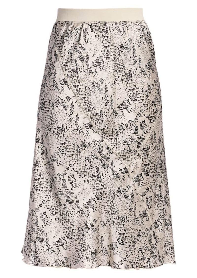 ATM Anthony Thomas Melillo Silk Snake-Print Midi Skirt