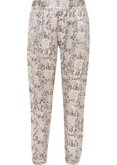 ATM Anthony Thomas Melillo Snake-print Silk-charmeuse Track Pants