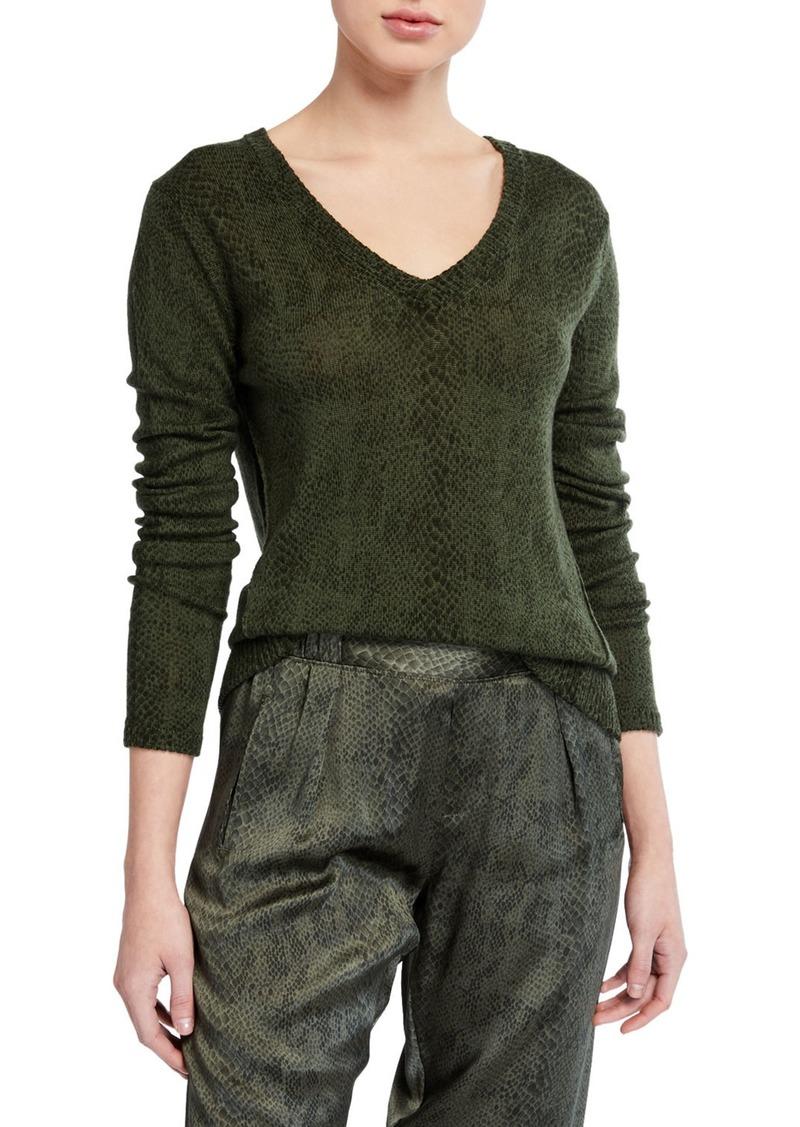 ATM Anthony Thomas Melillo Snake-Print V-Neck Sweater