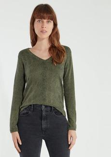 ATM Anthony Thomas Melillo Snake Printed V-Neck Sweater - XS - Also in: L