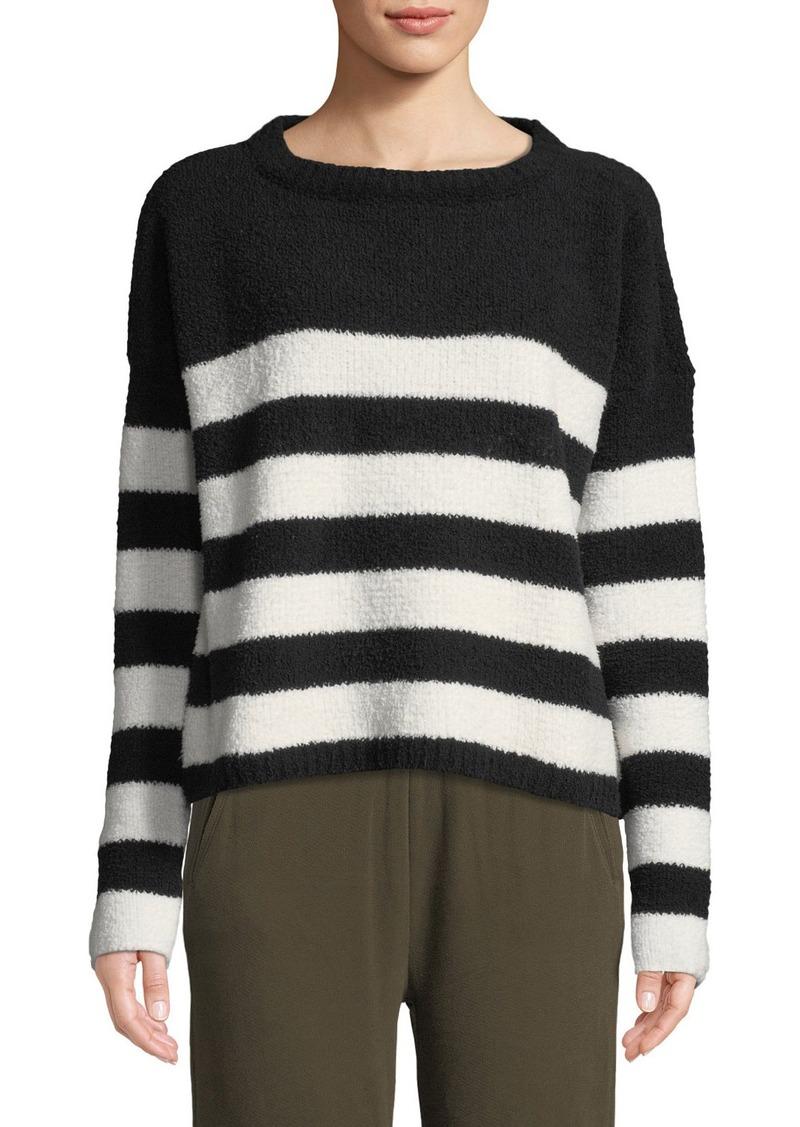 ATM Anthony Thomas Melillo Striped Chenille Boat-Neck Sweater