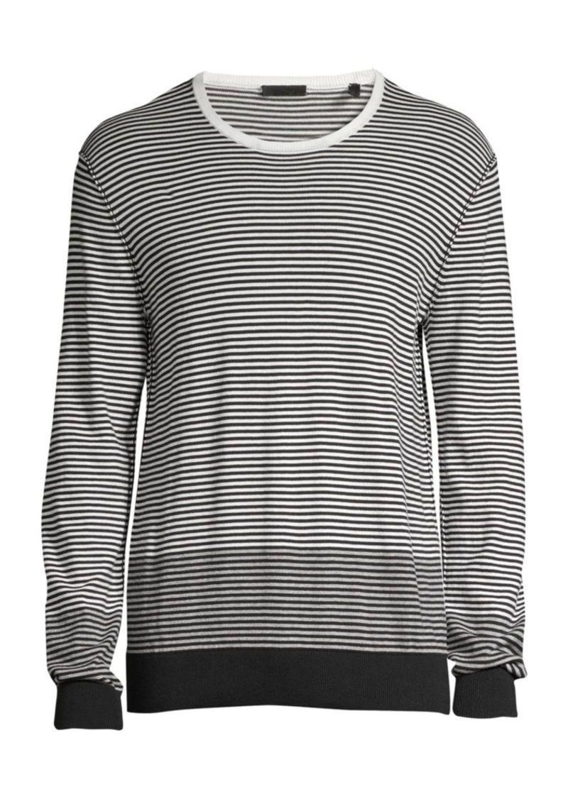 ATM Anthony Thomas Melillo Striped Cotton Crewneck Sweater
