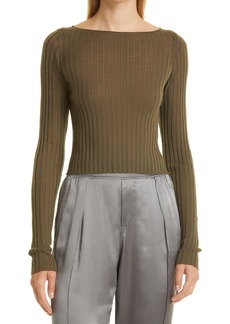 Women's Atm Anthony Thomas Melillo Wide Rib Crop Boatneck Sweater