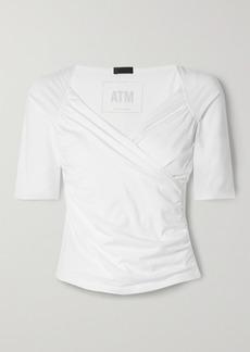 ATM Anthony Thomas Melillo Wrap-effect Gathered Stretch-pima Cotton-jersey Top
