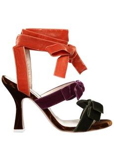 Attico 80mm Diletta Velvet Sandals W/ Bows