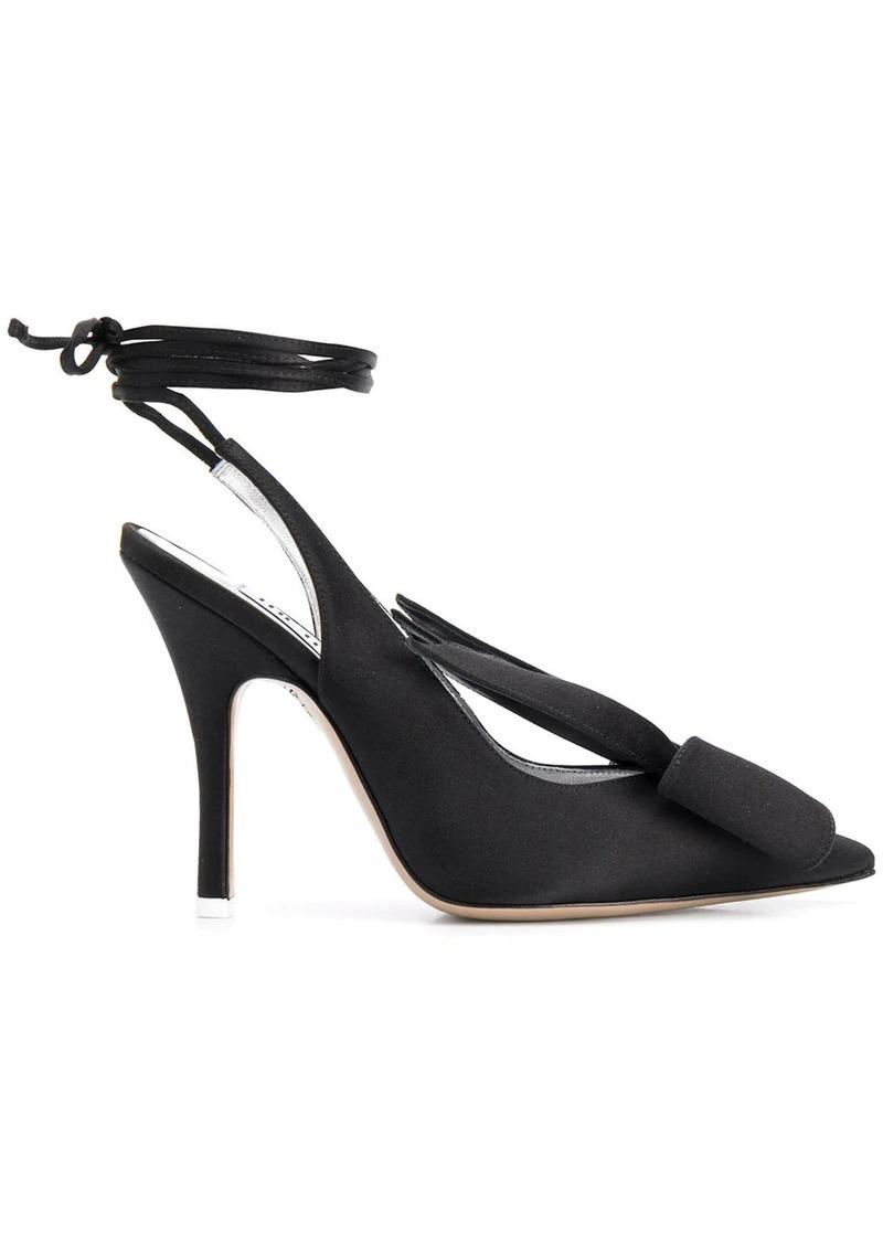 Attico ankle-wrap satin pumps