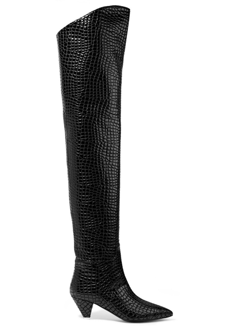 40e48ec5ae5 Asia Croc-effect Leather Over-the-knee Boots