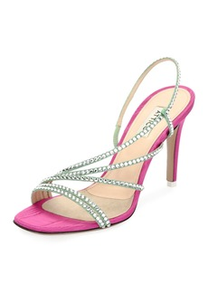 Attico Baby Strappy Crystal Slingback Sandal