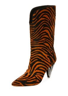 Attico Betta Zebra-Print Tall Boots