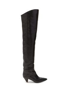 Attico Crocodile-effect leather over-the-knee boots