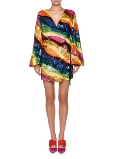 Attico Embroidered Sequins Long-Sleeve Tulle Cocktail Dress