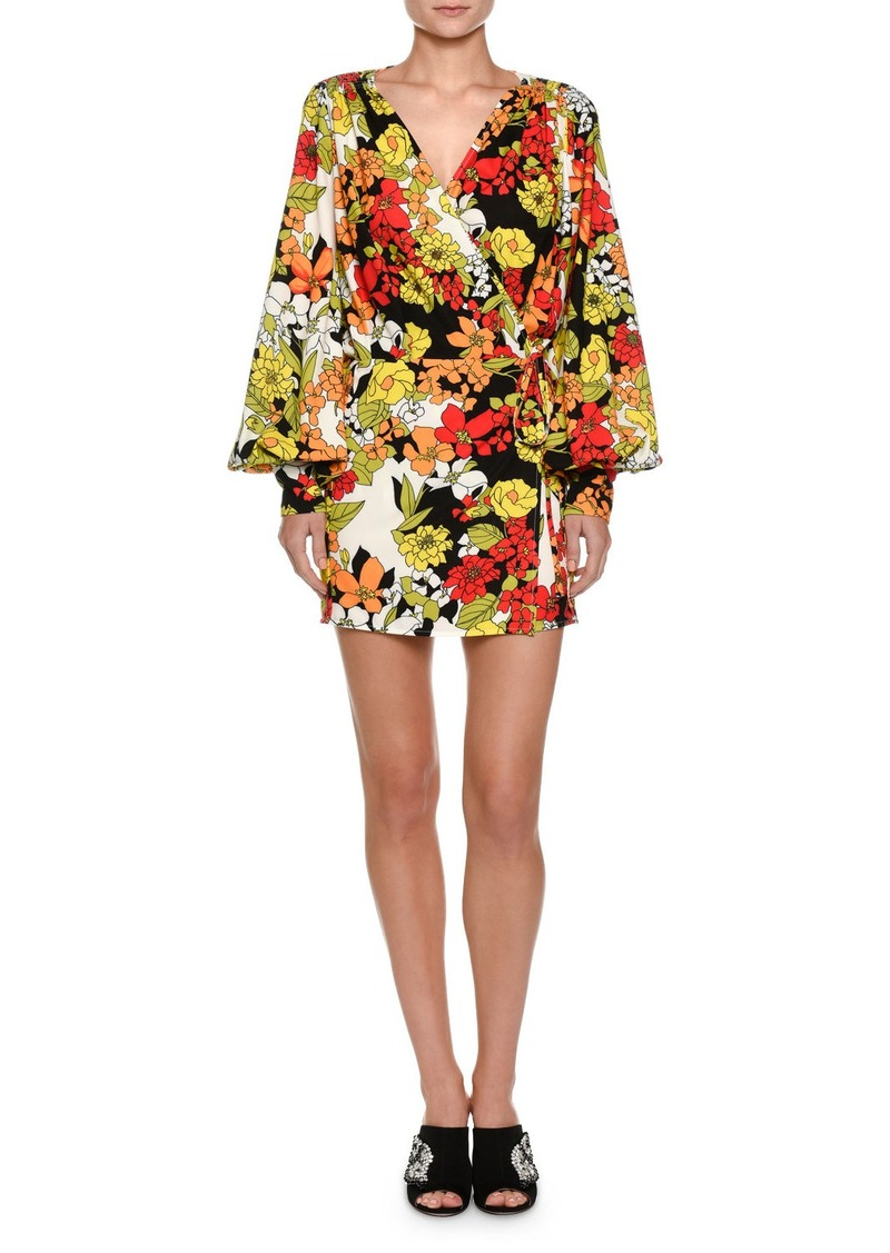 Attico Floral-Print Cady Crepe Robe Wrap Dress