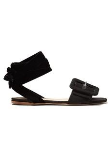 Attico Jole buckle-strap velvet-tie flat sandals