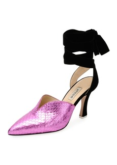 Attico Olivia Snakeskin Point-Toe Ankle-Wrap Pump