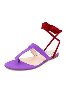 Attico Vanessa Moire Ankle-Wrap Sandal