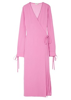 Attico Woman Crepe Midi Wrap Dress Pink