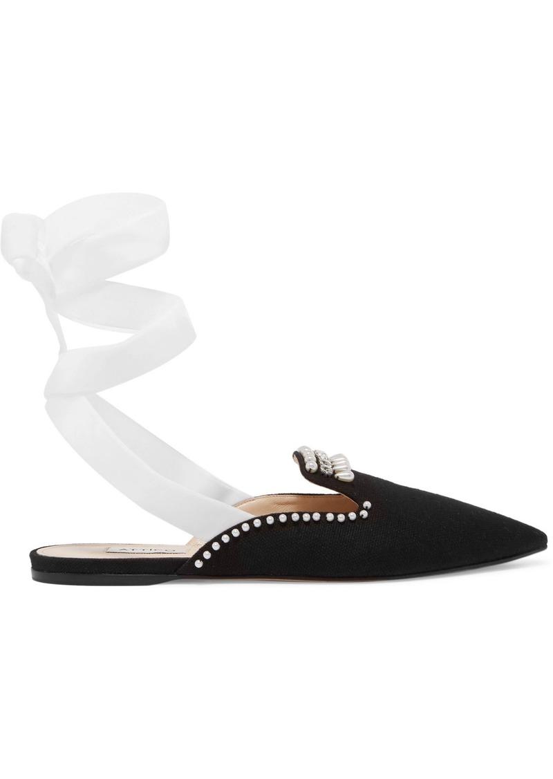 Attico Woman Elena Embellished Velvet And Canvas Slippers Black