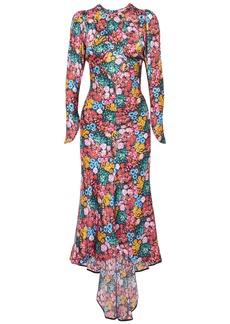 Attico Woman Floral-print Silk-satin Midi Dress Multicolor