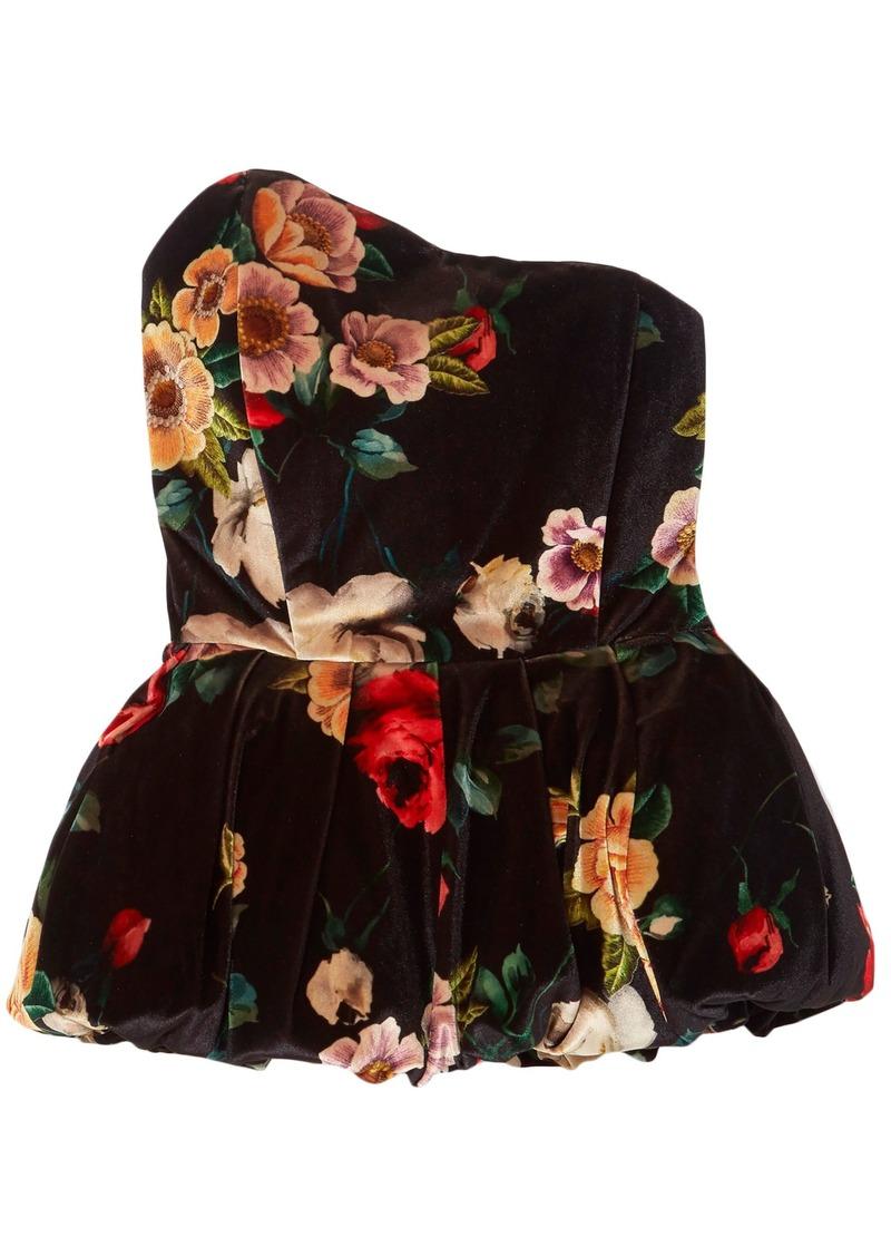 Attico Woman Strapless Floral-print Velvet Peplum Top Black