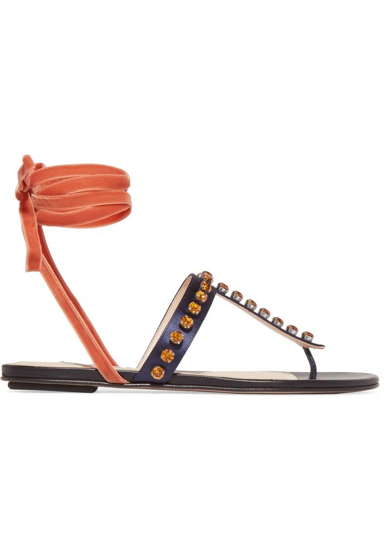 Attico Woman Vanessa Crystal-embellished Velvet And Satin Sandals Storm Blue