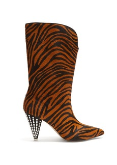 Attico Zebra-stripe calf-hair and crystal boots
