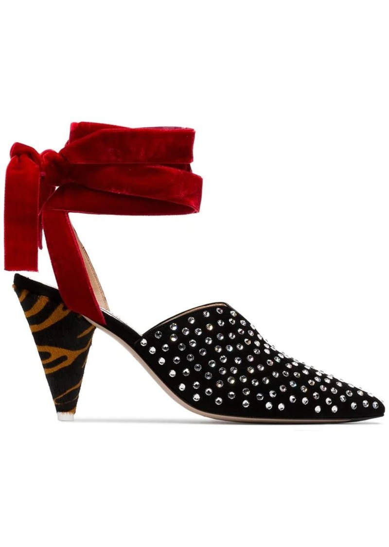 f4dc67d3ea Attico black, red and brown velvet ankle tie crystal embellished 90 suede  pumps