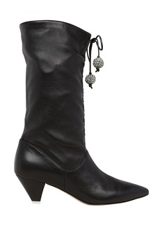 Attico Cinched Leather Heeled Booties