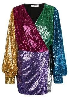 Attico colour-blocked sequin dress