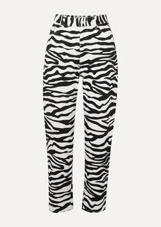 Attico Cropped Zebra-print High-rise Tapered Jeans