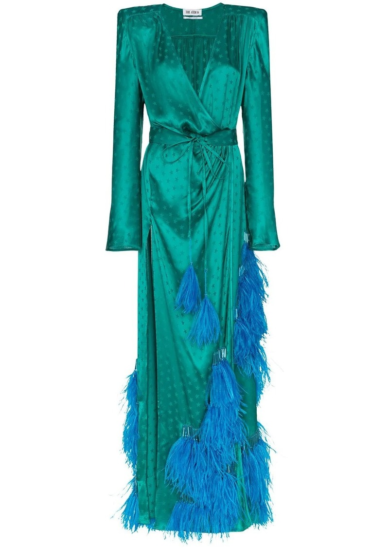 feather-embellished star jacquard gown