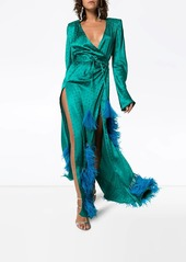 Attico feather-embellished star jacquard gown