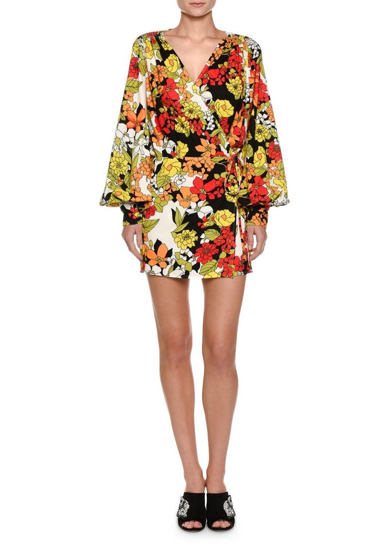 Attico Floral-Print Cady Crepe Robe Wrap Dress