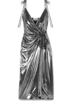 Attico Gathered Stretch-lamé Wrap Dress