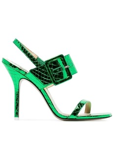 Attico green Mariah python effect sandals