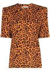 Attico leopard print padded shoulder T-shirt