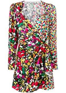 Attico mixed-print wrap dress