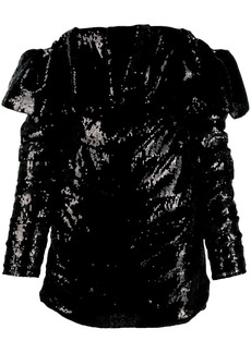 Attico off the shoulder sequin dress
