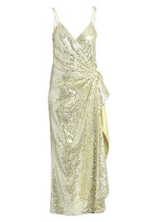 Attico Satin Paillettes Wrap Dress