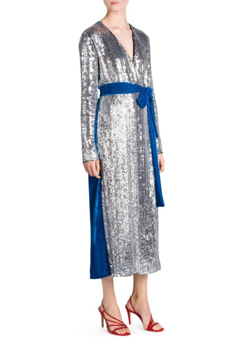 8504697e On Sale today! Attico Sequin & Velvet Midi Robe Dress
