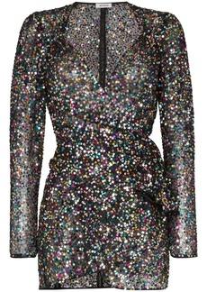Attico sequin embellished wrap mini dress