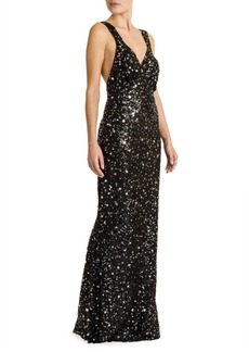 Attico Sequin Stars Sleeveless Gown