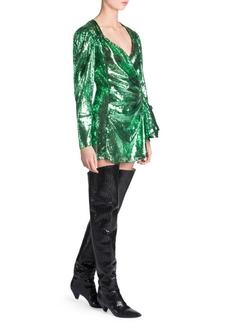 Attico Sequin Wrap Mini Dress