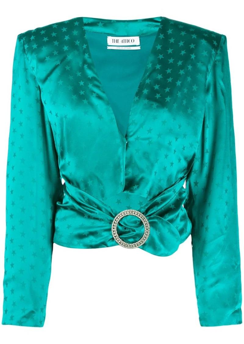 Attico star print crystal-buckled blouse