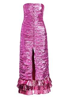 Attico Strapless Lamé Dress