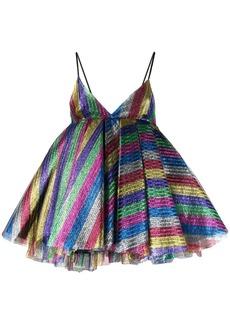 Attico striped glitter detail dress