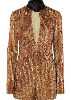 Attico Velvet-trimmed Embellished Sequinned Tulle Mini Dress