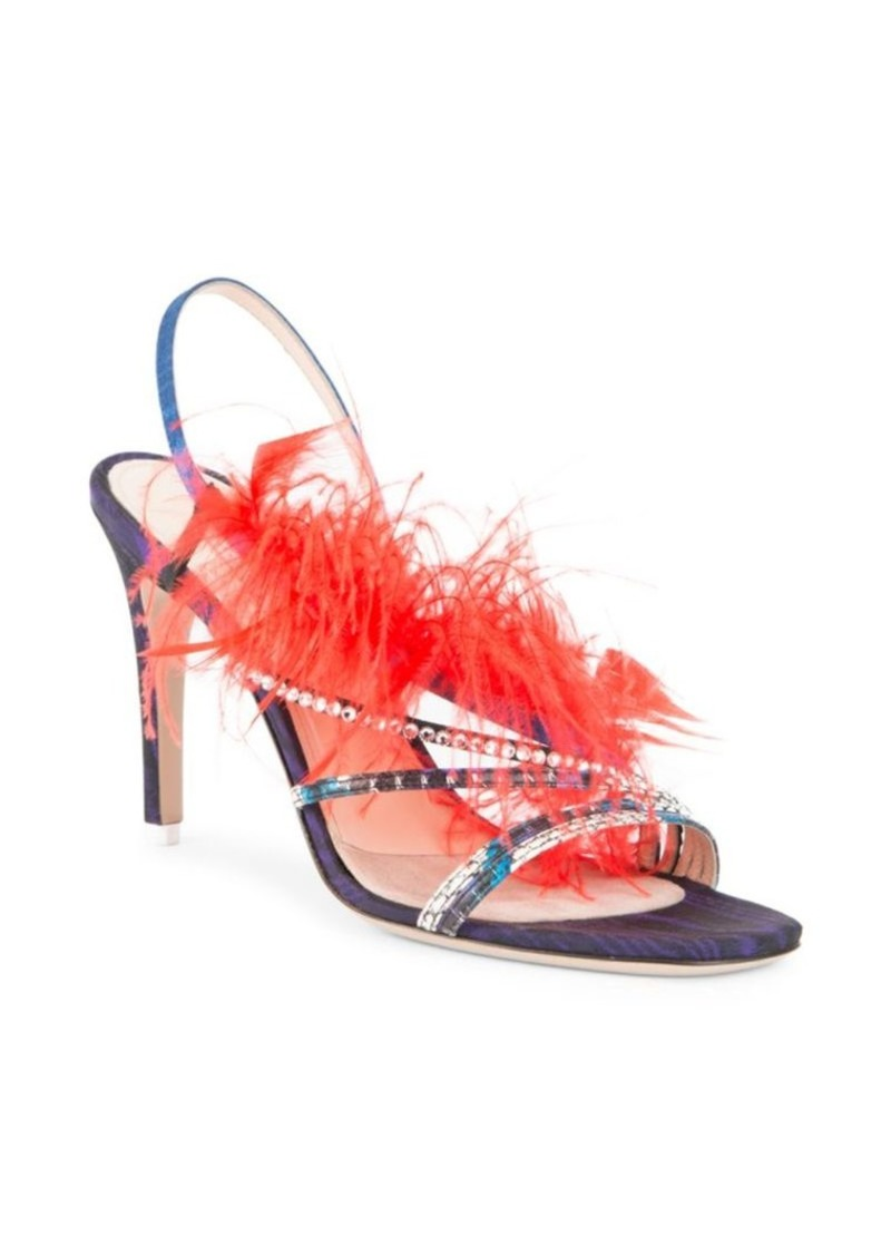Attico Whip Snake Feather Strappy Sandals
