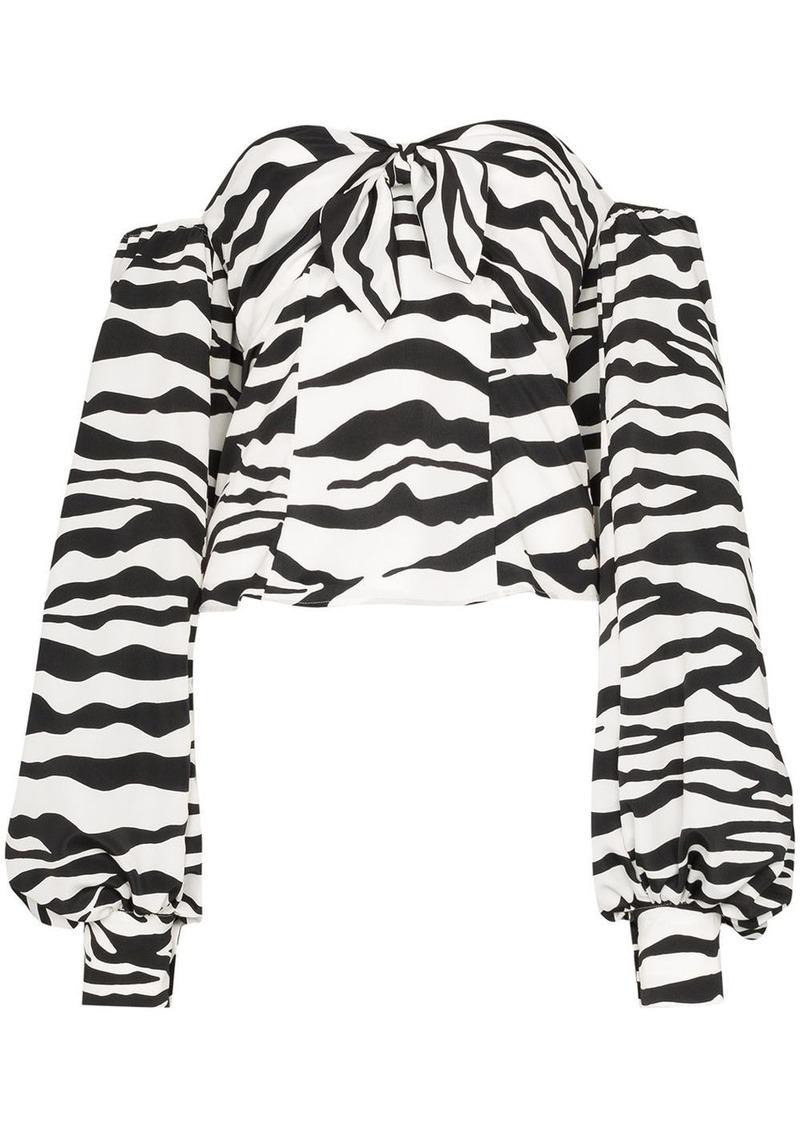 Attico zebra print pouf-sleeve blouse