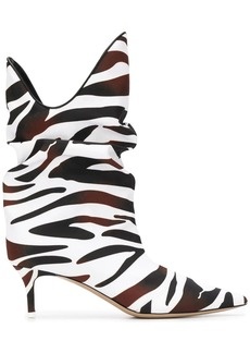 Attico zebra-print slouch ankle boots