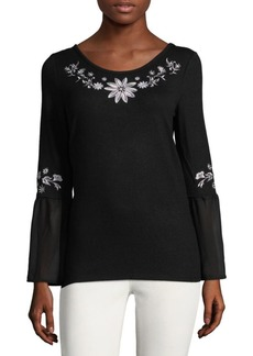 August Silk Embroidered Peasant Top